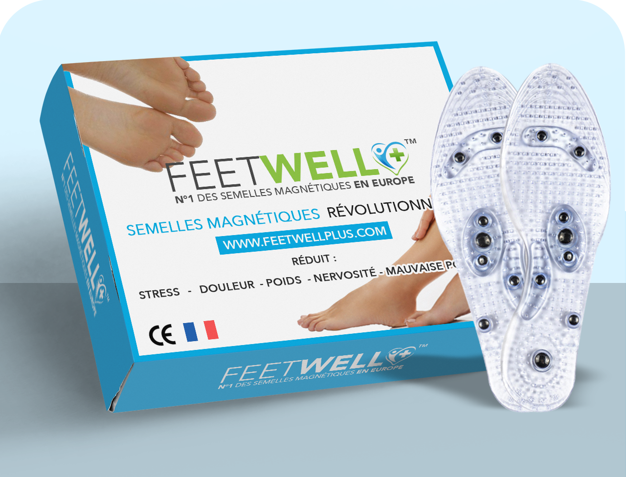 FEETWELL+™ - Semelles Magnétiques d'Acupuncture