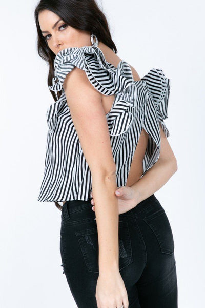 Frill Layered Open Back Stripe Top