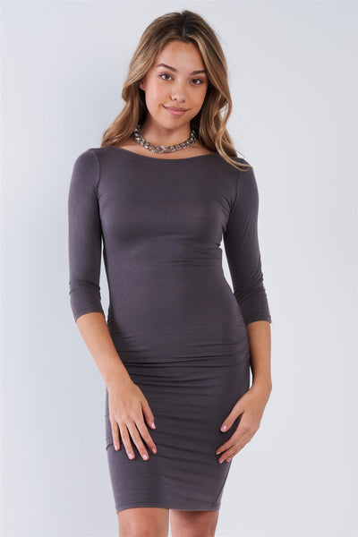Grey Ruched Shirred Side Long Sleeves Bodycon Midi Dress