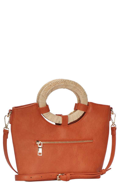 Chic Fashion Natural Woven Handle Satchel With Long Strap