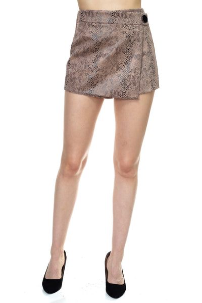 Faux Suede Snake Print Mini Shorts