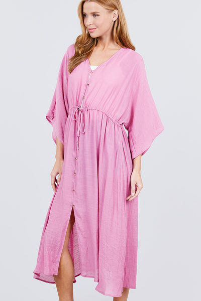 Elbow Sleeve Waist Ribbon Tie Button Down Long Woven Cardigan
