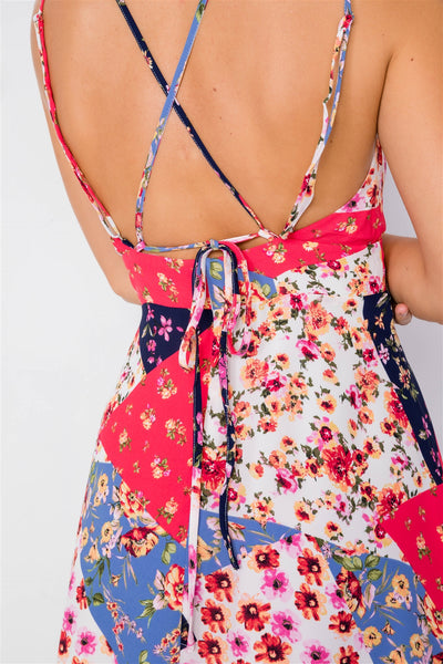 Multi Floral Print Fit & Flare Skater Mini Dress