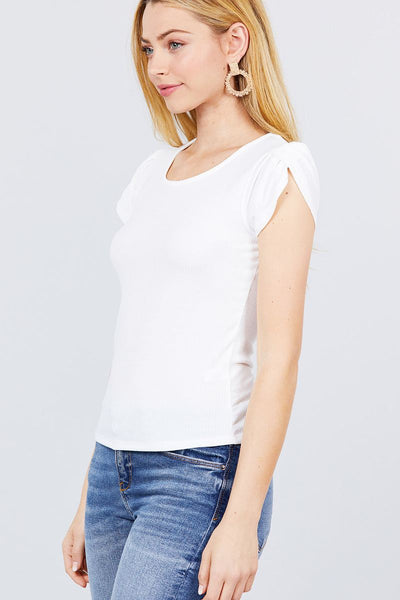 Short Tulip Puff Sleeve Round Neck Rib Knit Top