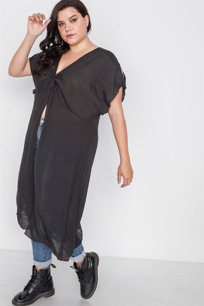 Plus Size Black Front Slit Tunic Cover-up Top