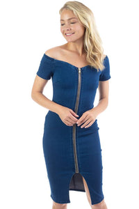 Off Shoulder Zip-front Denim Dress