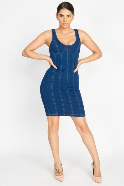 Back Slit Denim Bodycon Dress
