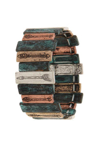 Rectangular Metal Bar Arrow Engraved Stretch Bracelet