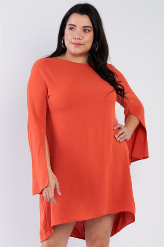 Plus Size Retro Chic Full Slit Sleeve Mini Dress