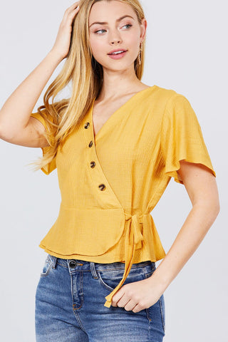 Short Sleeve V-neck Surplice Button Down Detail Ribbon Tie Back Shirring Woven Top