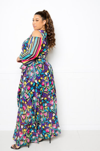 Multi Print Chiffon Maxi Dress