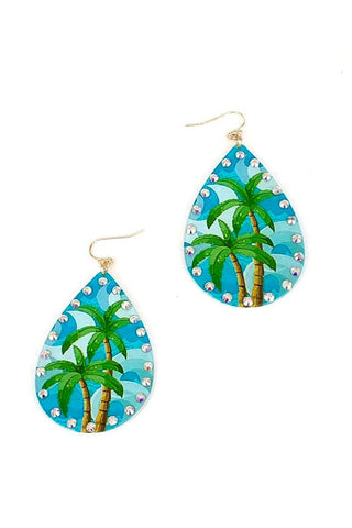 Fashion Tropical Printing Tear Drop Earring