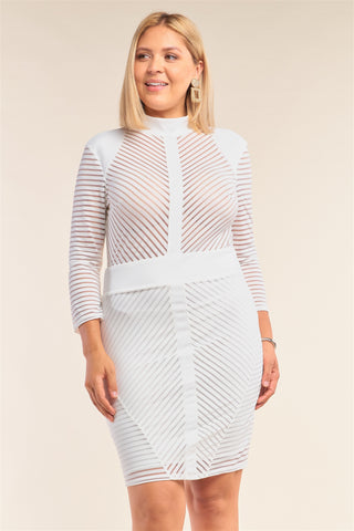 White Plus Size Long Sleeve Chevron Sheer Bodycon Mini Dress