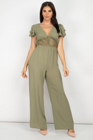 V-neck Lace Jumpsuit