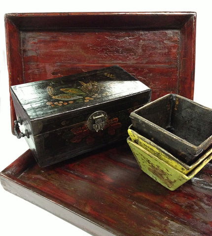 antique chinese trays and boxes