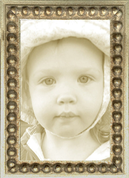 Thin Silver Bead Distressed Picture Frame