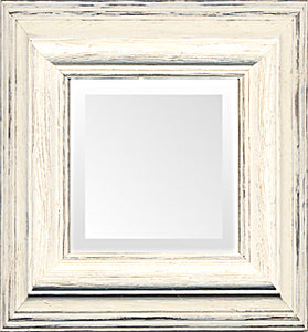 White Distressed Cottage Small Mirror