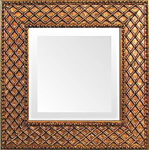Antique Gold Cross Hatch Small Decorative Mirror