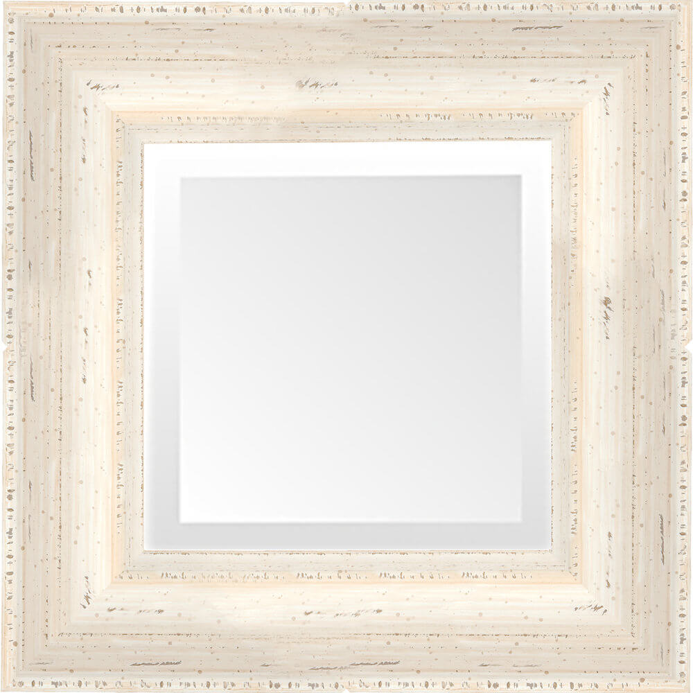Distressed White Chalk Paint Panel Mirror