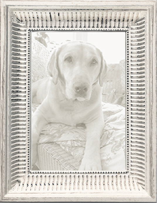 Distressed White French Country Picture Frame