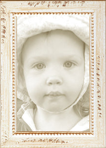 Distressed Whitewash Bead Picture Frame