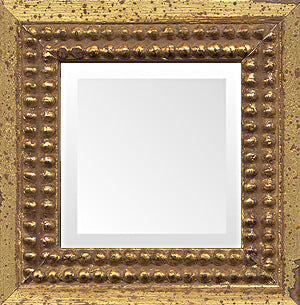 Italian Tuscany Distressed Gold Bead Mirror