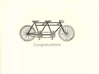 letterpress anniversary cards tandem bicycle