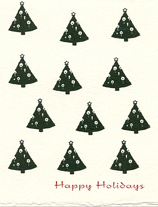 christmas trees letterpress holiday cards