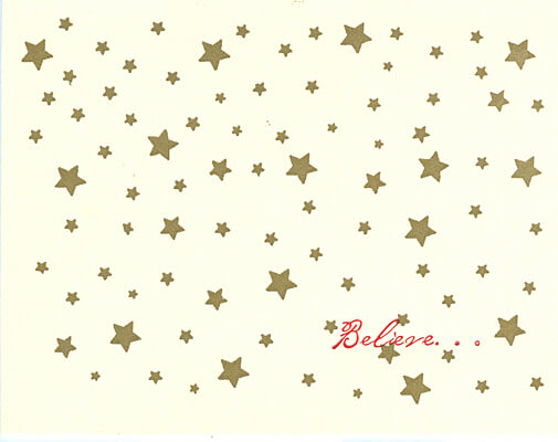 gold stars letterpress holiday cards