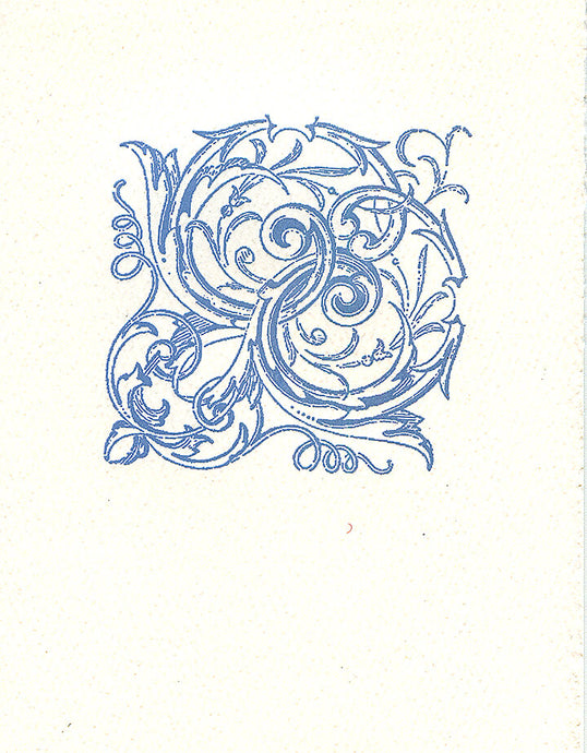 letterpress elegant blank notes periwinkle scroll