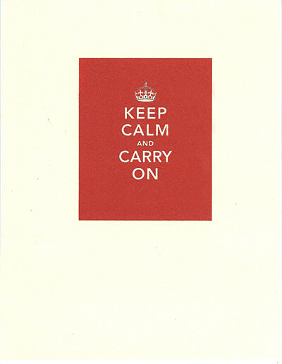 letterpress encouragement card keep calm carry on
