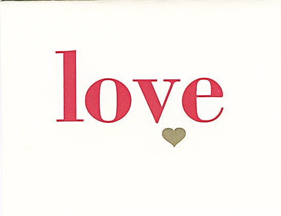 letterpress love greeting card