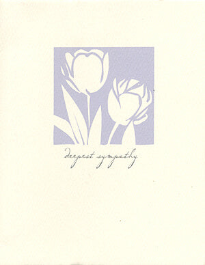 letterpress sympathy card purple tulips
