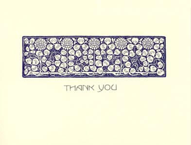 letterpress elegant thank you note blue flower