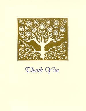 letterpress elegant thank you note gold tree