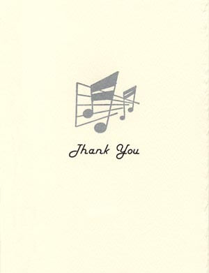 letterpress elegant thank you note vintage musical notes