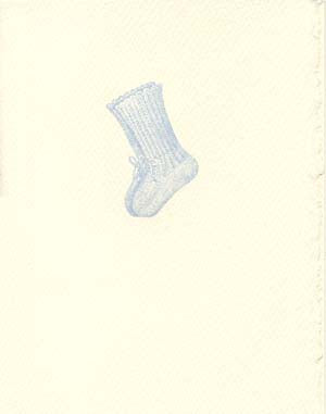 letterpress baby card blue bootie
