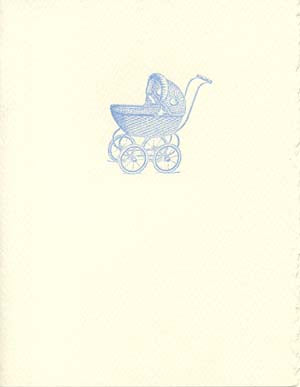 letterpress baby card blue carriage