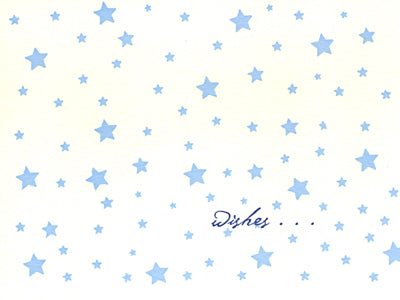 letterpress baby card blue stars wishes