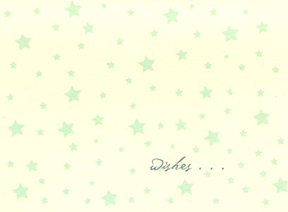 letterpress baby card green stars wishes