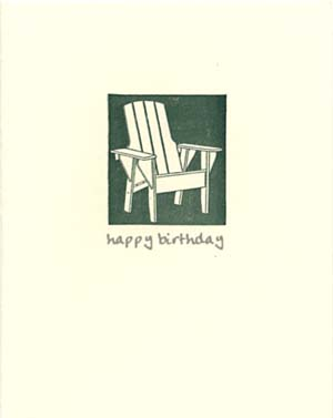 letterpress birthday card adirondack chair
