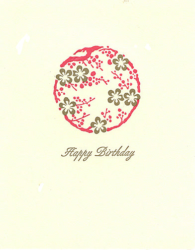 letterpress birthday card asian floral