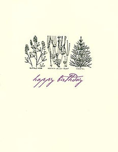letterpress birthday card botanical