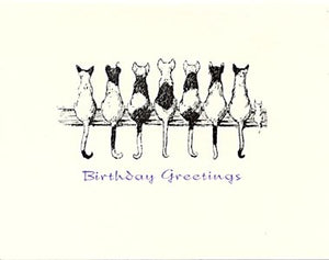 letterpress birthday card cats on fence
