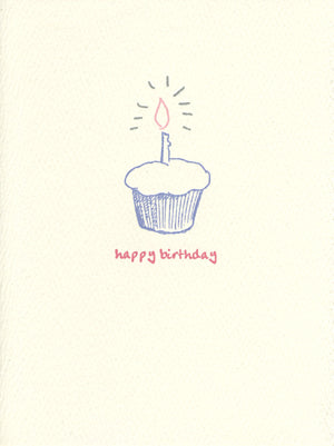 letterpress birthday card cupcake