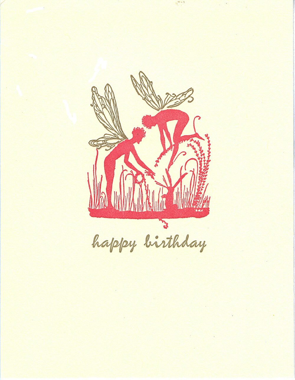 letterpress birthday card fairies