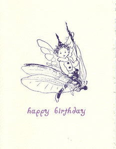 letterpress birthday card fairy flying