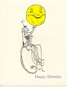 letterpress birthday card monkey holding moon