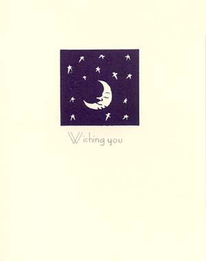 letterpress birthday card moon with stars