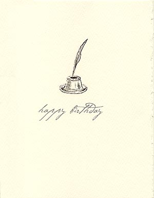 letterpress birthday card pen and quill